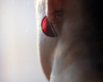 Half circle Silver Stud Earrings // Elegant Minimalist burgundy translucent