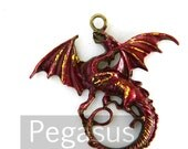 Dance with Dragon Ruby Red pendant (1 Piece)  Red and Gold Dragon Queen jewelry pendant for Queen, fantasy costume, wedding favor