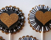 Heart Cupcake Toppers, Black and Gold Party , Cupcake Toppers, Paper Rosette, Gold Glitter Heart
