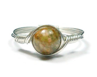 Autumn Jasper Argentium Sterling Silver Wire Wrapped Ring Custom Sized