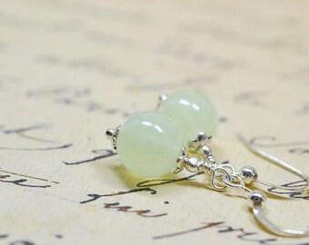 Pale Celery Green Glass Earrings / Pastel Pistachio Drop Bead, Simple Girls Jewelry, Cheap Affordable Jewelry