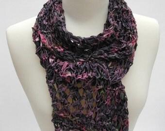 Cotton/ Rayon Scarf- Hand Knit/ Lavender, Mauve, Rose, Grape