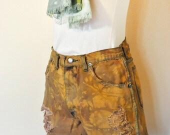 Orange Sz 30 Wrangler Denim SHORTS - Orange Brown Dyed Denim High Waist Destroyed Vintage Wrangler Cut-off Shorts - Adult Womens 30 Waist