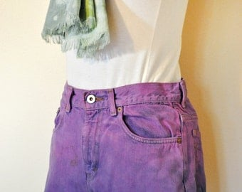 Pink Size 6 Calvin Klein SHORTS - Fuchsia/Blue Ombre Dyed Denim Urban Style Denim Vintage Shorts - Adult Womens Size 6 (30)