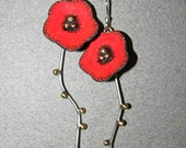 Bright orange-red poppy flower sterling silver and brass long drop earrings