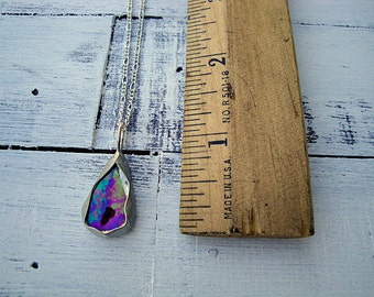 Sale - Iridescent Grey Stained Glass Tear Drop Necklace