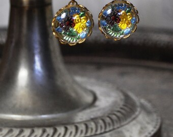 Vintage Floral Glass Intaglio Earrings - Vintage Assemblage