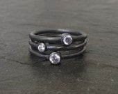 Stack ring set in oxidized sterling silver with cubic zirconia, black stackable ring, womens black rings