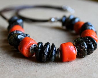 Black Amber Coral Necklace Raw Stone Baltic Red Orange Brown Pink Long Earthy Colors OOAK Rough Gemstone Jewelry