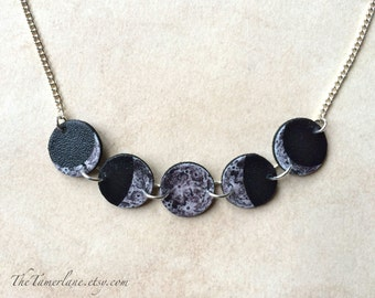 Lunar Phases Moon Phase Eclipse Necklace with Silver Plated Chain Space Stars Galaxy Galaxies Outer Space Unique Macabre Goth Glam Gypsy Art
