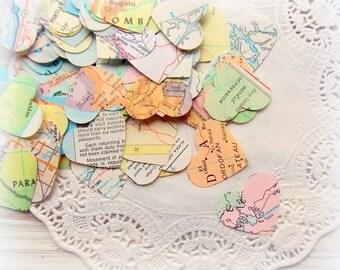 Vintage Atlas Heart Confetti / Wedding Decor / 100 Pieces / Wedding Confetti / Table Confetti