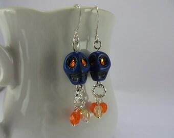 Dark Blue Skull Earrings Glowing Orange Eyes Yellow Glass Boho Free Shipping Treasury List Item