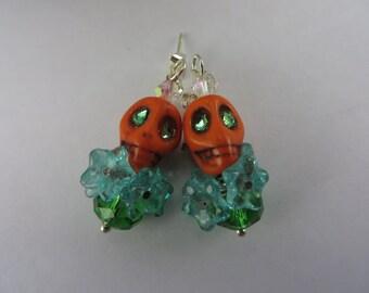 Orange Skull Earrings Green Glowing Eyes Blue Flowers Crystal Boho Free Shipping