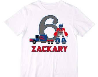 Personalized Transforming Robot and Car Birthday Shirt or Bodysuit - Personalized with ANY Name and Age