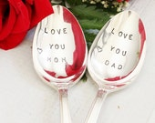Love you Mom Love you Dad stamped spoon set, Parents Gifts Under 50