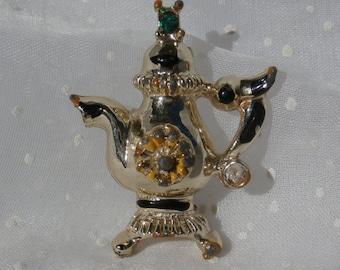 Teapot Tea Pot Brooch Pin, Gold Tone