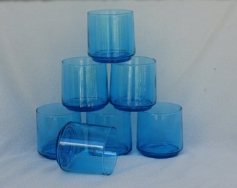 7 Vintage Brilliant Blue Glass Juice Tumblers - 3 inches tall