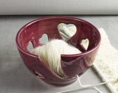 Dark Marsala Red Wine Heart Yarn Bowl small Knitting Crochet handmade wheel thrown Ceramic Love bowls ceramics BlueRoomPottery