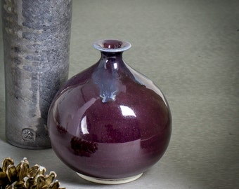 Purple bud vase, Modern Minimalist Ceramic Bottle, Home Decor vessel, Wheel Thrown Round Dried Flower MADE TO ORDER