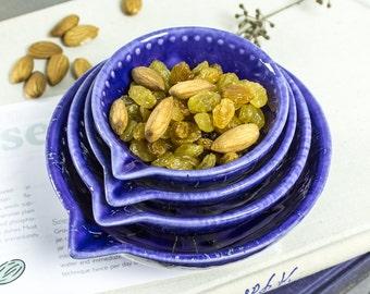 Blue Ceramic Bowl Cobalt blue Measuring Cup Nesting Prep Bowls glossy glaze Handmade Kitchen Serving Home Decor Modern Pottery
