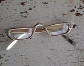 Vintage Cat Eye Glasses Vintage Eyewear by Liberty Retro Hipster Spectacles with Rhinestones  (4405-W)