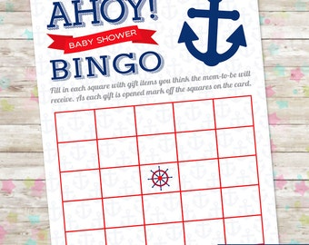 Ahoy, Nautical Baby Shower Game, INSTANT DOWNLOAD, Printable Baby Bingo, Baby Boy Ahoy, DIY,  Baby Shower, Red and Navy