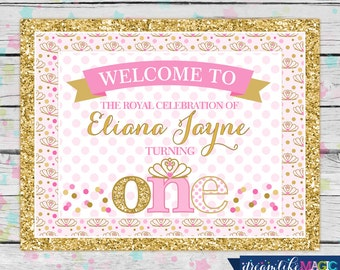 Printable Welcome Sign, Princess Birthday Party, Pink and Gold, Glitter and Pink, Printable DIY Party Decorations, ONE, Tiara