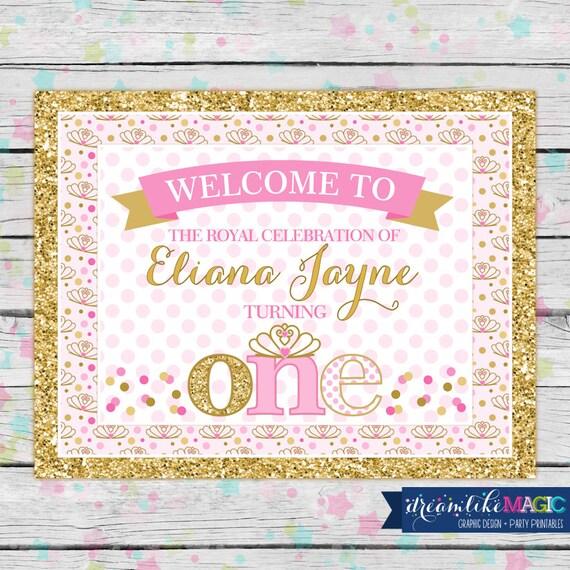 Items similar to Printable Welcome Sign, Princess Birthday ...