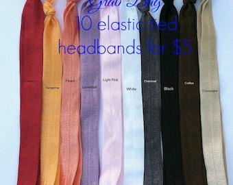 Elastic Headband Grab Bag...Elastic Headbands 10 for 5...Headband Grab Bag...Grab Bag...You choose 2 sizes for 10 headbands