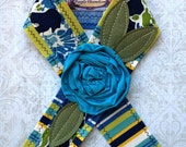 Lounging Seaside Head Wrap. Head Band Tie on Headband in Teal Blue Aqua Green Yellow and White Floral Summer Accessories