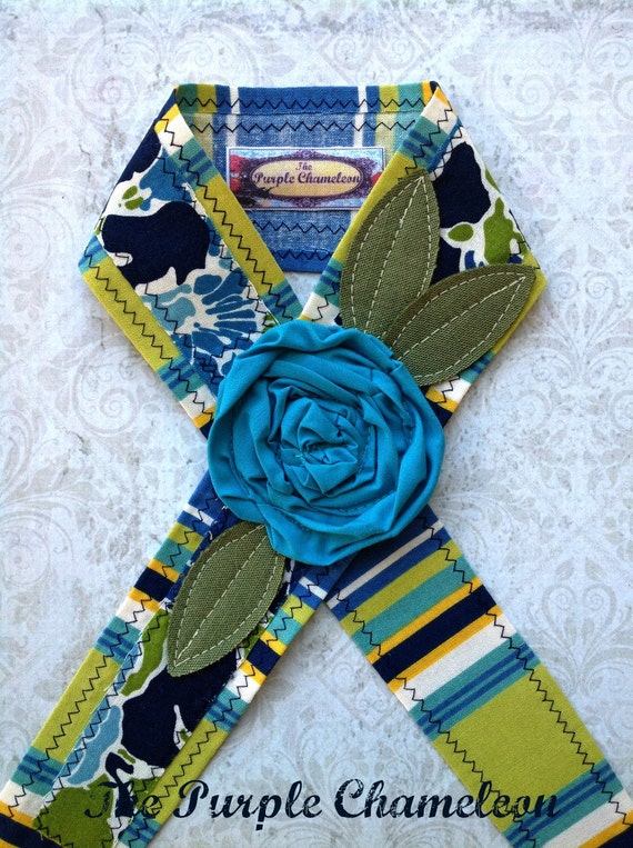 Lounging Seaside Head Wrap. Head Band Tie on Headband in Teal Blue Aqua Green Yellow and White Floral Summer Accessories Gifts for Her