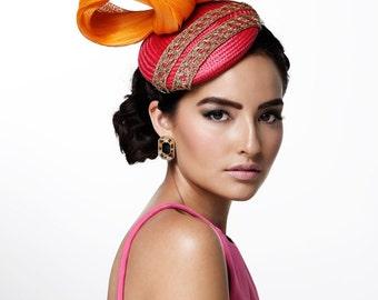 Spring Racing Orange and Pink Fascinator/Hatinator/Headpiece