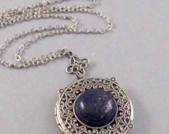 Lapis Lazuli,Locket,Antique Locket,Silver Locket,Blue STone,Gemstone Locket,Gemstone Necklace,Lapis Lazuli Necklace,