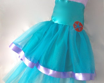 Little Mermaid Dress: turquoise & lavender lined ariel tutu, halloween costume, birthday party, parks trip, princess dinner, mermaid tail