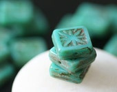 Czech Beads Tile Bead With Star Pattern Beads - Jewelry Making Supplies (10 pieces) Opaque Turquoise