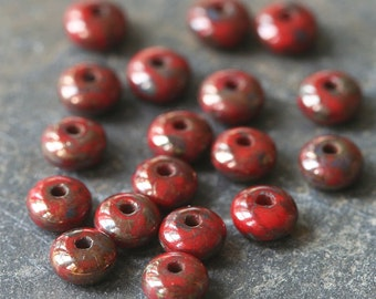 4mm Rondelle Beads - Jewelry Making Supply - Smooth Rondelle - Czech Glass Beads - Spacer Disk - RED PICASSO Beads - Choose Amount