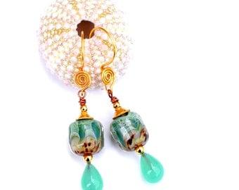Pale Jade Glass Bead Earrings. Light Turquoise Earrings. Lampwork Beaded Jewelry.