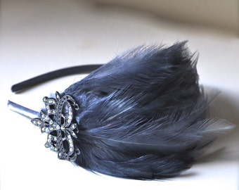 Ready to ship- women's feather headband Victorian grey feather fascinator with elegant rhinestone piece Chic classic New Years Eve accessory