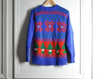 SALE / Sweater Ugly Christmas / Bright Blue Red Green / Hand Knitted / Holiday Kitschy / 90s Vintage / Medium M
