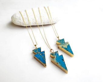 Agate Arrow Necklace, Turquoise Arrowhead Necklace, Mineral Necklace