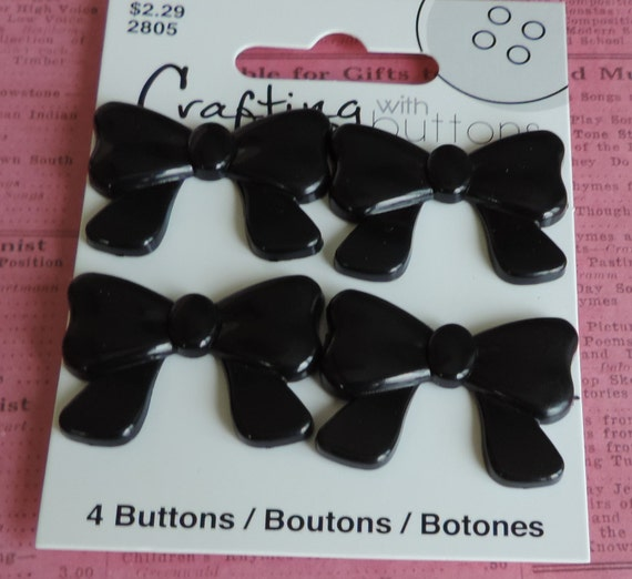 Black Bow Buttons Carded Set of 4 Crafting with Buttons Collection