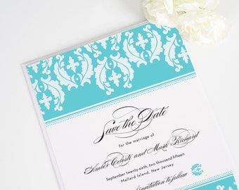 Cascading Damask Save the Date Card - Deposit