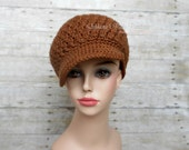 Adult/Teen Ladies Medium Crochet Newsboy Hat, Women's Girl's Brown Stylish Billed Cap,  Winter Wear Accessory, Christmas Gift