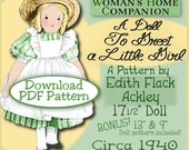 Edith Flack ACKLEY Vintage - A Doll to Greet a Girl - 17.5 inch CLOTH Doll 1940 vintage e-pattern pdf