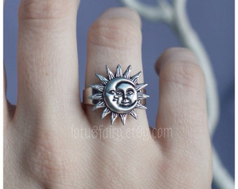 Moon and Sun ring adjustable from sizes 4-10