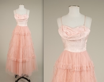 1940s tulle prom dress • vintage 40s dress • long evening gown