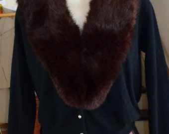 Vintage 1950s' Black Sweater with Fur Collar