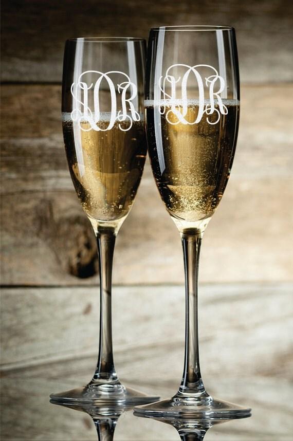 Personalized Champagne Glasses Champagne Flutes Monogram Toasting Glasses Set of 2