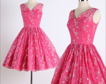 vintage 1950s dress . pink chiffon . silver embroidery . 4757