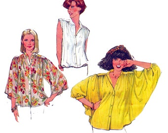 Womens Gathered Boho Blouse Pattern Simplicity 8348 1970s Vintage Sewing Pattern Size 12 Bust  34 Inches